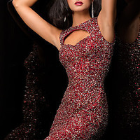 Short Sequin Dress with Cut Out Back by Scala
