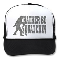 Rather be squatchin, black camouflage mesh hats from Zazzle.com