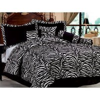 7 Pc Modern Black / White Zebra Micro FUR Comforter SET / BED in a BAG - Full Size Bedding