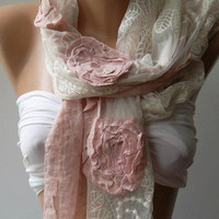 ON SALE/Pink -- Elegance Shawl -- Scarf with Lace Edge-