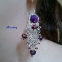 Wire wrapped Purple agate and crystal chandelier earrings