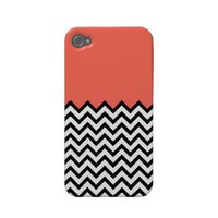 Coral Pink Peach Color Block Chevron iPhone 4 Case from Zazzle.com
