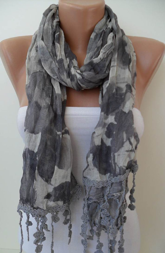 Grey Scarf  with Trim Edge - New Collection