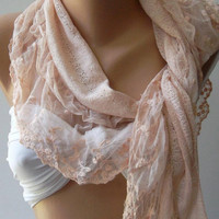 Salmon Pink - Elegance  Shawl / Scarf with Lacy Edge-