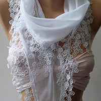 White -Cotton Shawl / Elegance Shawl - Scarf with Lace Edge/ Yemeni-
