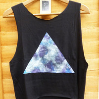 Galaxy Summer Crop Top Vest Oversize Topshop Black - All Sizes Festival