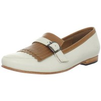 John Fluevog Women`s Nzame Slip-On Loafer,White/Tan,9.5 M US