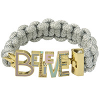 Gold Plated And Braided Believe Enamel Bracelet From Disney Couture : TruffleShuffle.com