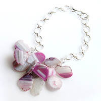 Chunky Agate Necklace  - Pink, Lavender, Silver Chain, Grey, White, Agate Slice