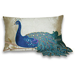 Fancy Peacock 12-inch Rectangular Pillow | Overstock.com