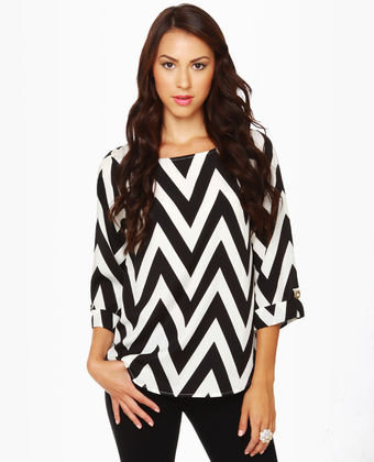 Zaggety Ann Black and Ivory Top