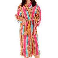 Women`s White Candy Striped Bathrobe, 14 oz Water Absorbent Fleece, Sizes Small to 4X