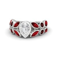Pear White Sapphire Sterling Silver Ring with Ruby & Red Garnet - Garland Ring
