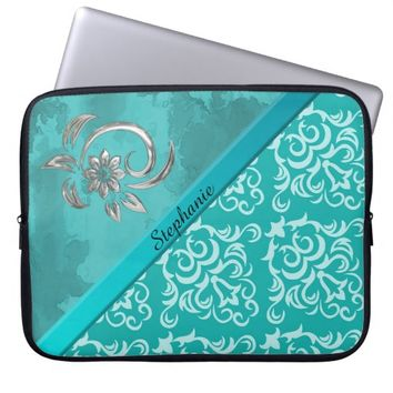 Chic Teal Damask and Swirl Neoprene Laptop Sleeve
