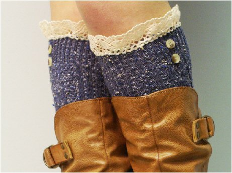 BKS2BL Nordic Lace denim tweed knee socks