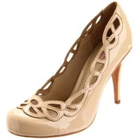 Samanta Women`s Cathy Platform Pump,Dark Beige,9 M US