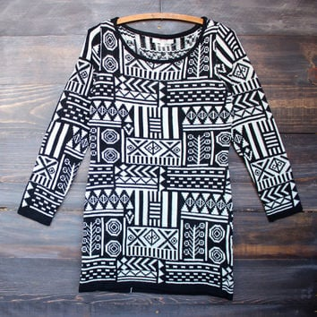 dress to impress body con sweater dress - black sand aztec print knitted women's fashion clothing fall winter