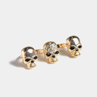 Double Finger Fancy Skull Ring