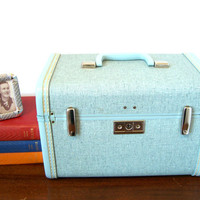 Samsonite Royal Traveller Train Case Aqua Blue Confetti  EXCELLENT