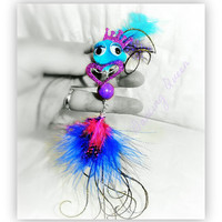 Brooch, Pin,Pendant, Monster, Creature, Critter, Wire Wrap, Feathers Pink & Blue, Turquoise Pompom Peacock, Howlite Bead, Heart OOAK Jewelry
