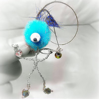 Pendant / Charm / Figure Monster, Creature, Critter, Wire Wrap Turquoise Pompom Blue Dot and Peacock Feathers, Crystal Beads -OOAK- Jewelry