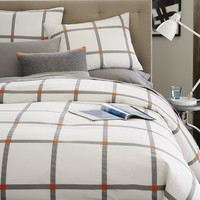 Pop Plaid Duvet Cover + Shams - Feather Gray