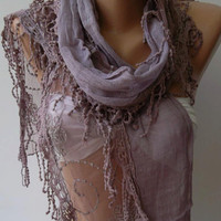 Lilac - Elegance Shawl / Scarf with Lace Edge-