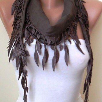 Pale Brown  - Lightweight Summer Scarf with Trim Edge - New