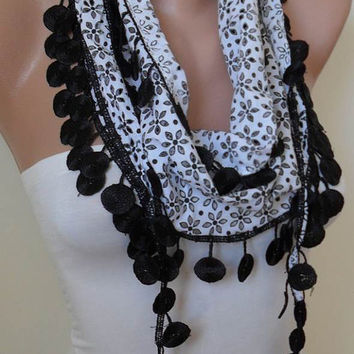SALE - Perforated Fabric - Black and White Cotton Scarf with Black Trim Edge