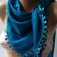 Blue  - Shawl with Lace - Turkish Shawl - Anatolians Scarf - Yemeni