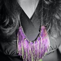 Reversible Necklace Chainette Fringe Bib, Purple & Chartreuse Green - OOAK Jewelry