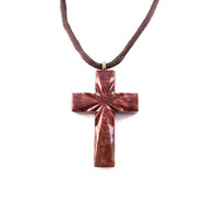 Mens Cross Necklace, Wooden Cross Necklace, Wood Cross Pendant, Hand Carved Cross, Mens Cross Pendant, Mens Wood Cross, Christian Jewelry