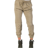 QUILITED KNEE TWILL JOGGER PANT - Beige-Khaki - ESSENTIALS