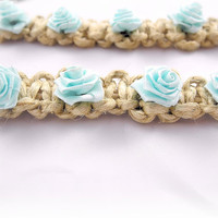 Choker Necklace And Bracelet Set- Hemp & Aqua Roses