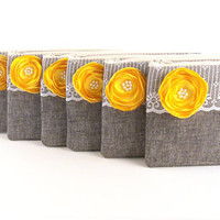 Bridesmaids Gifts- 5 Premiere GREY Clutch Envelopes with YELLOW Satin Flower and Pearl Center