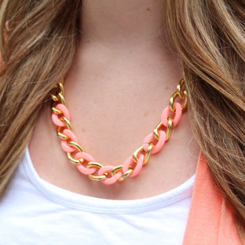 Mint and Gold Curb Chain Necklace // Coral and Gold Curb Chain Necklace