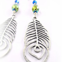 Earrings- Long / Peacock Feather Charm/ Iridescent Crystal Beads- OOAK Jewelry