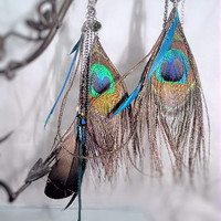 Earrings- Awesome Asymmetrical Peacock Feathers, Various Chains, Crystal Beads, Sterling Hooks -OOAK Jewelry