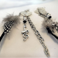 Earrings- Long /Guitar Pick/ Chain/ Feathers/ Crystal/ Musical Note Charm- Sale 25% Off- OOAK Jewelry