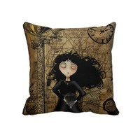 Brown Steampunk Cute Girl Throw Pillow from Zazzle.com