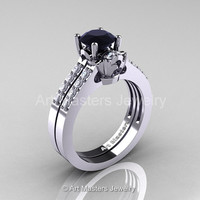 Classic 14K White Gold 1.0 Carat Black Diamond White Diamond Solitaire Wedding Ring Wedding Band Set R101S-14WGDBD