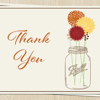 Autumn Mason Jar Thank You Cards, with Fall Flowers, Wedding, Bridal Shower, Birthday, Set of 100 folding notes w envelopes, FREE shipping