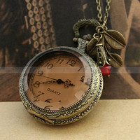 Necklace-Pocket watch with smoky cover, red crystal bead and leaves charm, gift ideas