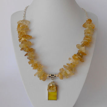 Handmade Citrine Nugget Necklace with Yellow Glass Pendant and Silver Plated Chain