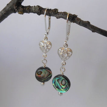 Handmade Paua Shell Coins, Filigree Silver Hearts Lever Back Dangle Earrings