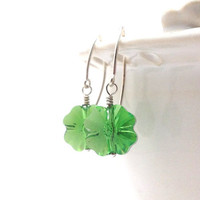 Christmas in July Sale, Shamrock Earrings, Green, Swarovski Crystal
