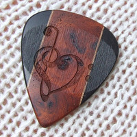 Wood Guitar Pick - Laser Engraved Handmade Exotic Amboyna Burl, Gabon Ebony, and Walnut - Premium Guitar Pick