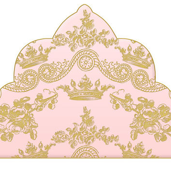 Headboard Wall Decal - Crown Princess - Faux Gold and Pink - TWIN -  Lite version