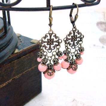 Vintage Style Peach Earrings - Swarovski Pearl Chandelier Earrings - Peach Pink Coral Bronze Jewelry Antique Brass Filigree Earrings
