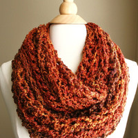 Sale - BEACHCOMBER INFINITY SCARF  - Warm, soft & stylish scarf rich in texture - Camp Fire Orange